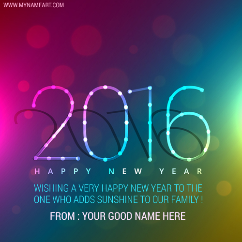 Write Your Name On Gradient Background 2016 Card For Family