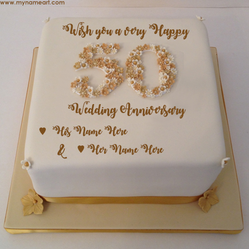 50th Wedding Anniversary Cakes.Write Parents Name On 50th Wedding Anniversary Wishes Cake Pics