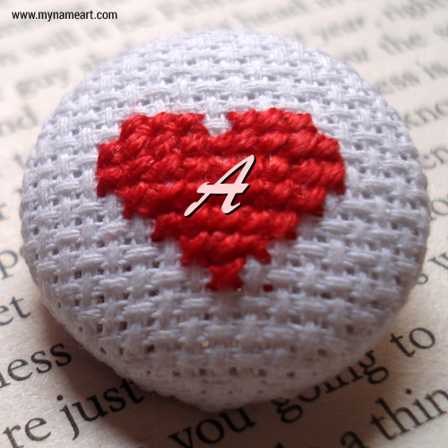 Write Your Name Letter On Heart Cotton Art