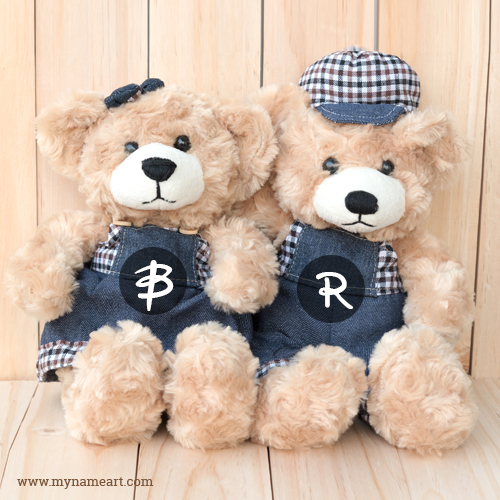 Couple Teddy On Wooden Background With Name Alphabet Letter