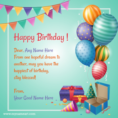 Birthday Card With Name.Happy Birthday Greeting Card 2019