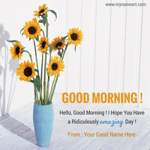 Hello Good Morning Yellow Flowers Image With Name
