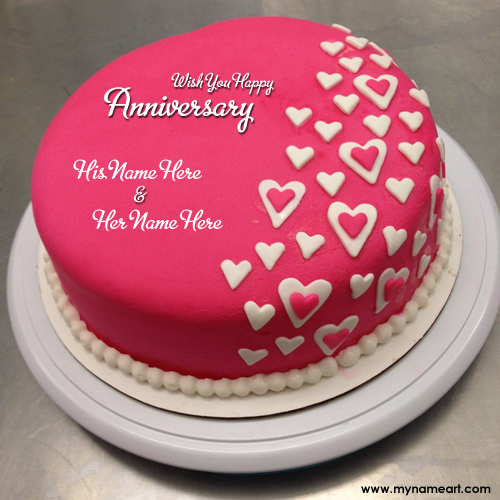 Red Anniversary Cakes With Couple Name