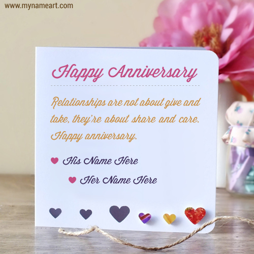 Anniversary Wishes For Couples Name Edit Online Wishes Greeting Card