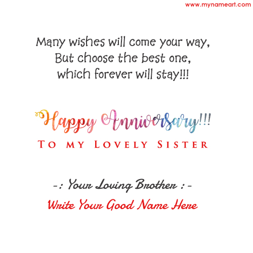 Name Edit On Anniversary Greetings For Sister Card Image