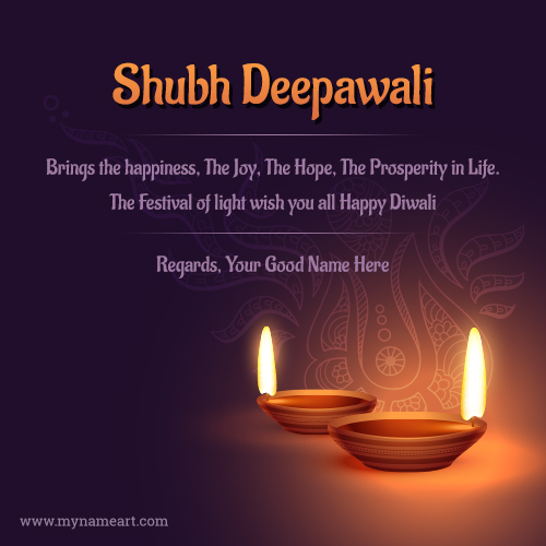 Shubh Deepavali Greeting Card With Name Edit.