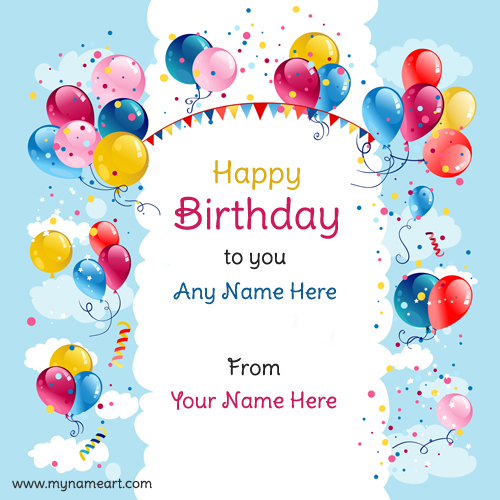Birthday Card With Name.Write Name On Realistic Balloons Design Birthday Wishes Card