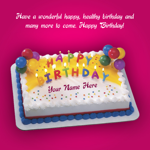 Print And Writing Name On Purple Birthday Cake – Birthday Greeting Cards with Name