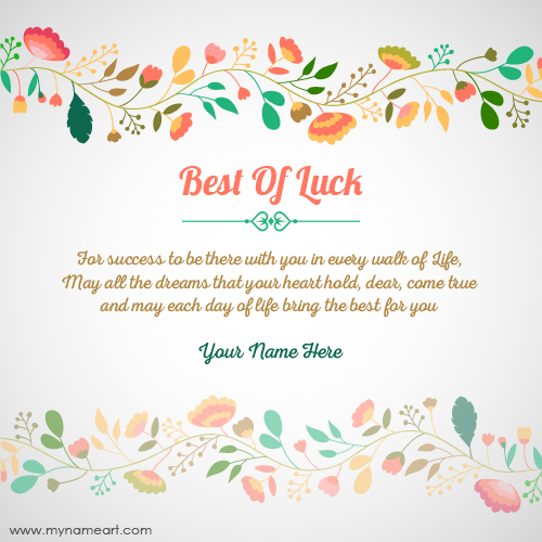 Create Best Of Luck For Exam Card With Name – Best Wishes for Exams Cards