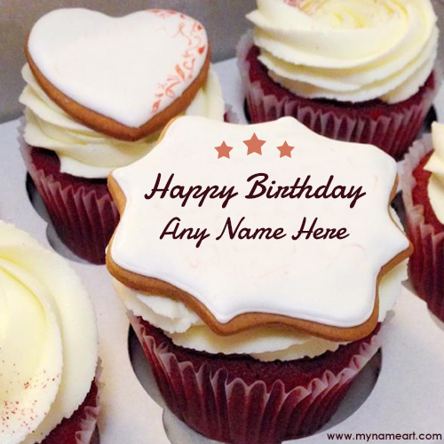 Stylish Name Edit On Happy Birthday Cake Image wishes greeting card