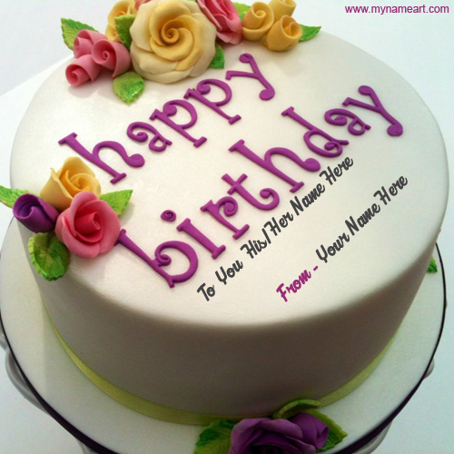 Create Card Write His Or Her Name On Birthday Cake