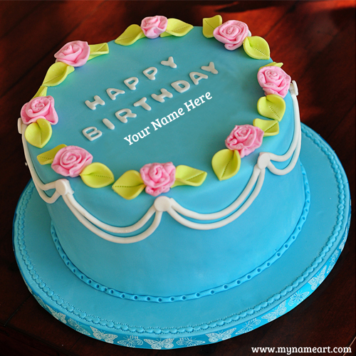 Birthday Cake With Name Print On Image