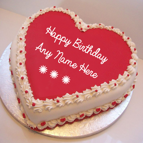 Write Girlfriend Name On Pink Heart Birthday Wishes Cake ...