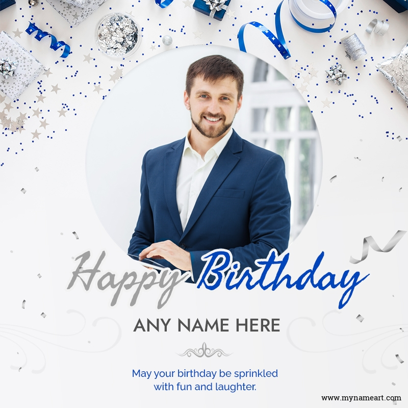 Blue Glitter And Cosmic Star Happy Birthday Card With Photo