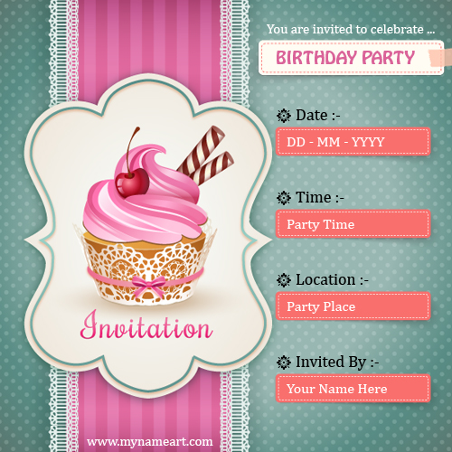 Create Birthday Party Invitations Card Online Free wishes greeting