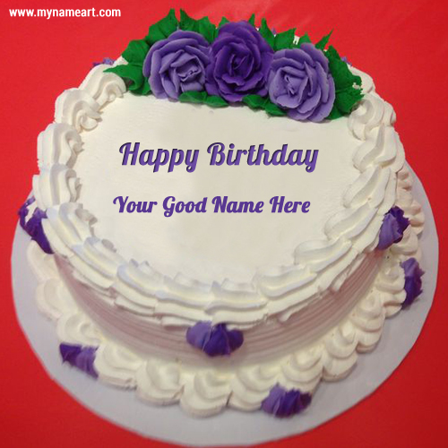 Birthday Purple Rose Name Cake Picture
