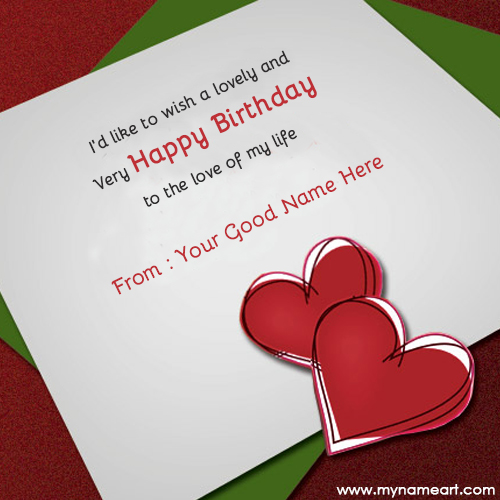 Create Card Write Name On Birthday Wishes For Lover