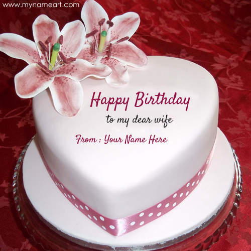 happy birthday wishes to my dear wife with name  wishes greeting card, Birthday card