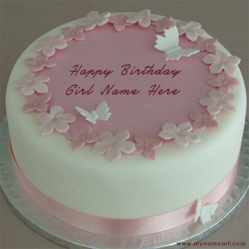 Butterfly Birthday Cake Image With Girl Name Edit