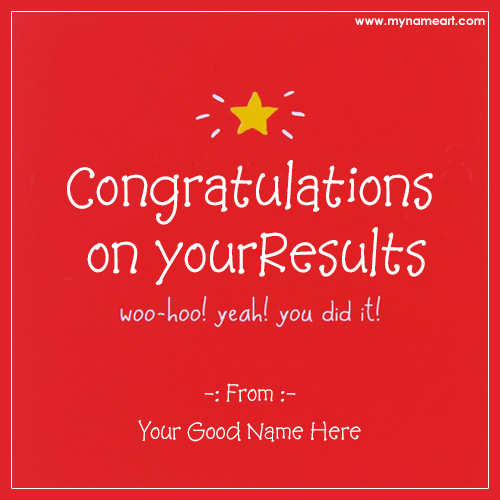 Name Edit On Congratulations On Your Results Card