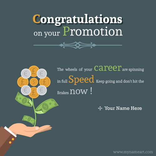 Write Name On Congratulations On Your Promotion Greeting Picture