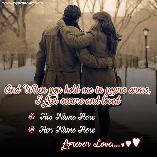 Romantic Couple Arms Holding Image With Name Write