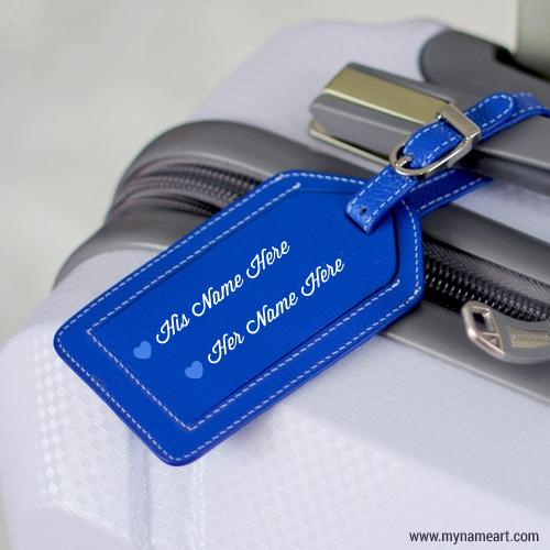 Blue Leather Keychain Image Couple Name Edit