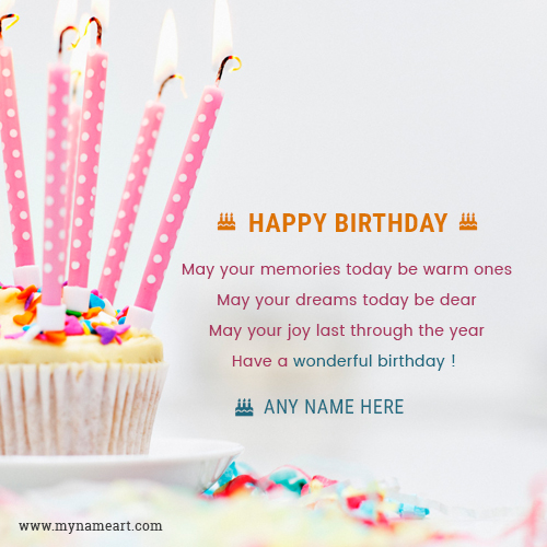 Write Name On Candle Cake Birthday Card