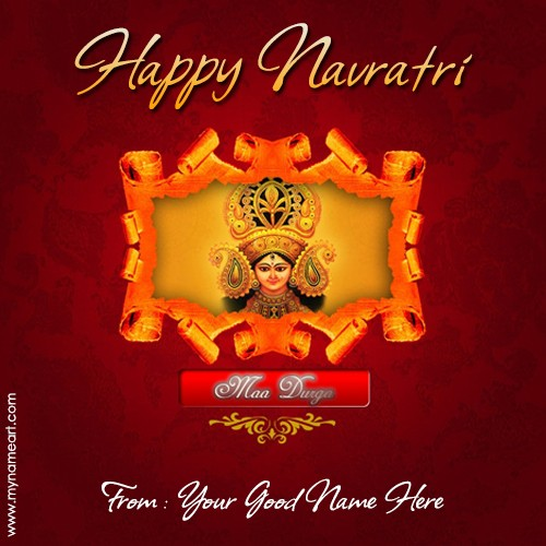 Write name on navratri festival greeting cards wishes greeting card create card m4hsunfo