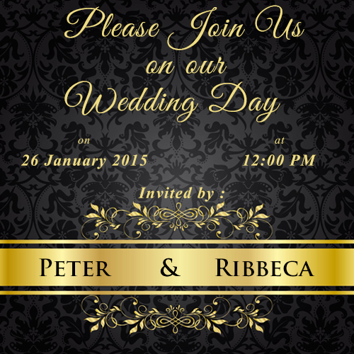 Write name on black floral wedding invitations cards for Wedding invitation free online for whatsapp