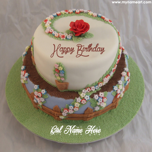 Cute Name On Fl Decorated Birthday Cake Image Happy Flower With
