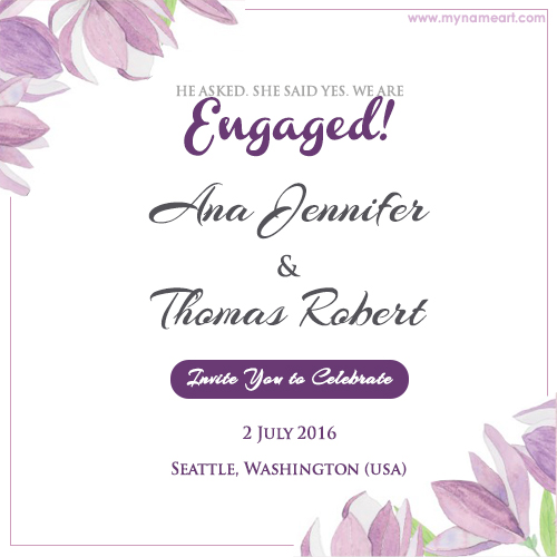 Write couple name on floral engagement invitation card pictures create card stopboris Image collections
