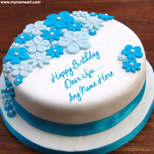 Flower Decorated Ice Cream Cake Edit With Jiju Name