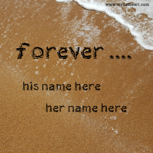 Forever Text Message With Boy Girl Name On Beach Sand