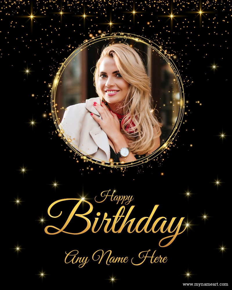 Golden Confetti Birthday Card With Photo