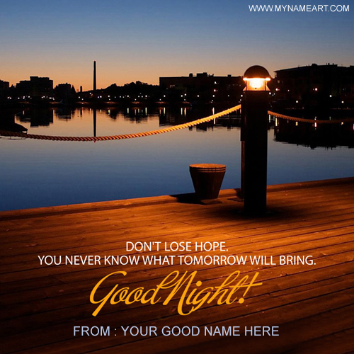 Good Night Quotes Greetings Card Name Image
