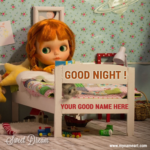 Good Night Message With Cute Girl Sleeping Image