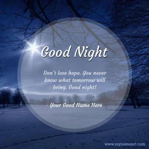 Relaxing And Inspirational Good Night Message With Name