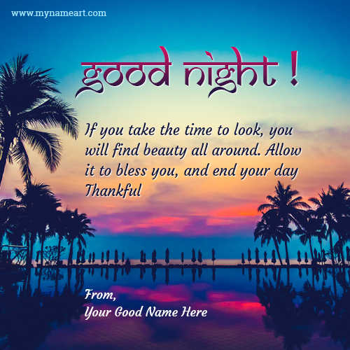 Write Stylish Name On Good Night Thank You Message Photo