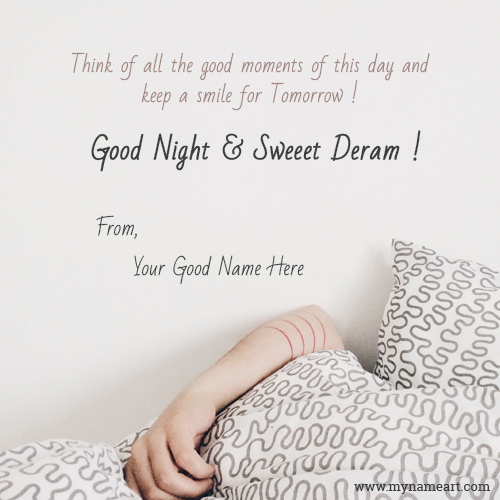 Good Night With Beautiful Quotes Name Image