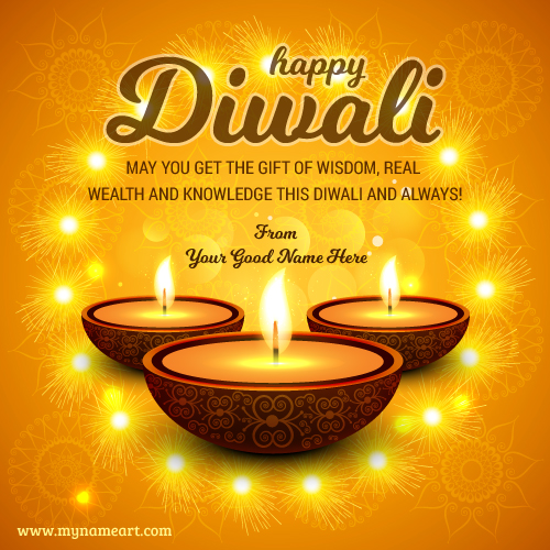 Latest diwali wishes quotes with myname image edit wishes greeting greeting card of traditional indian festival diwali with lamps m4hsunfo