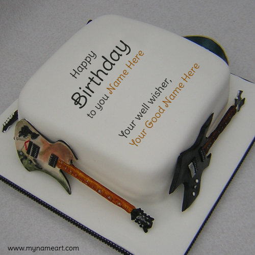 Guitar Birthday Cake With Well Wisher Name