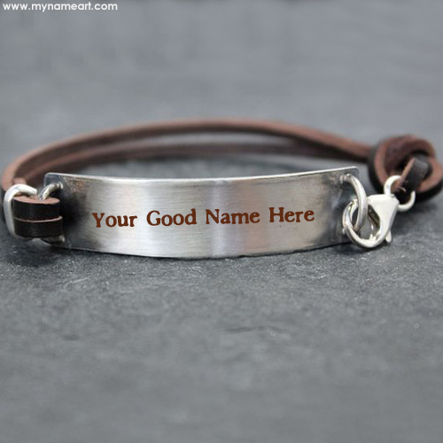 Write Boyfriend Name On Leather Belt Silver Hand Bracelet
