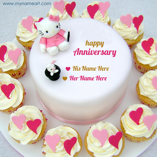 Happy Anniversary Couple Kitty Cake Name Pics