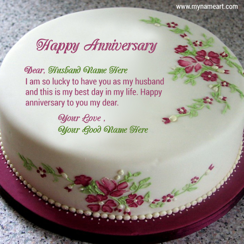 Write husband name on cake image for anniversary wishes wishes create card m4hsunfo