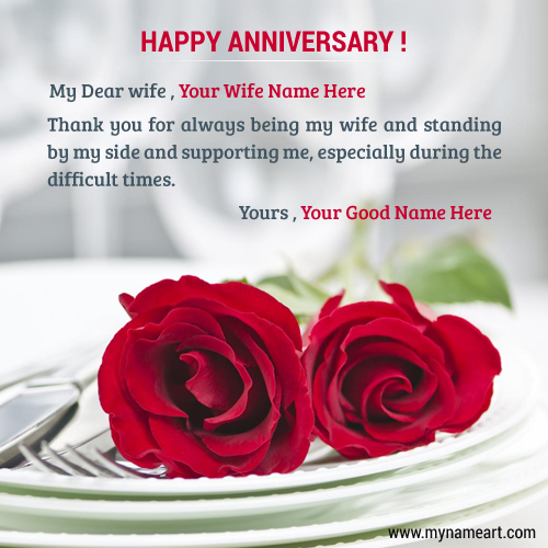 Anniversary wishes with name editing pic for wife wishes greeting card happy anniversary wishes for wife m4hsunfo