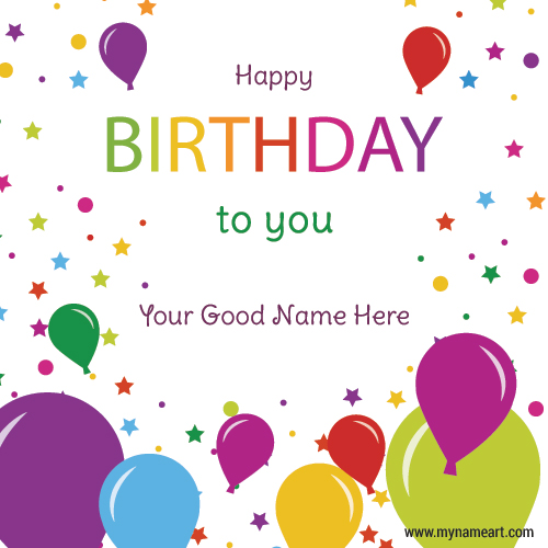 Colorful Birthday Balloons Wishes Image With Name