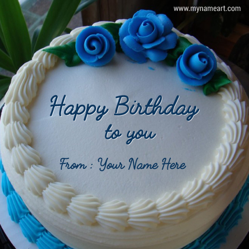 Terrific Blue Birthday Cake With Name Edit Option Online Personalised Birthday Cards Veneteletsinfo