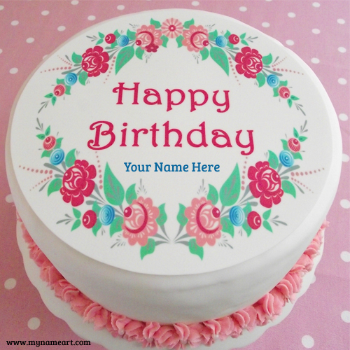 Happy Birthday Flower Cake With Name Image wishes greeting card