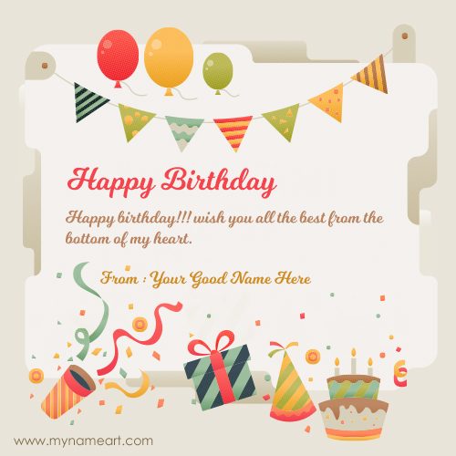 Create Card Friend Name Written On New Birthday